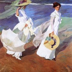 """Hello summer with this """"Walk on the beach"""" (1909) by Joaquín Sorolla y Bastida  This canvas is in the Casa Museo Sorolla in Madrid where there is an interesting collection of Spanish popular jewelry  Sorolla painted for the Hispanic Society of New York several portraits of Spain capturing people with  traditional costumes and jewels  __________  Hola verano con este """"Paseo por la playa"""" (1909) by Joaquín Sorolla y Bastida  Este óleo está en la Casa Museo Sorolla en Madrid donde hay una…"""