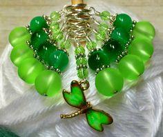 Beaded Dragonfly Stitch Marker Charm Jewelry Set- Green