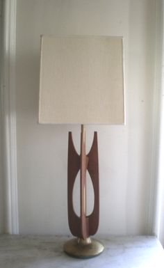 Mid Century Teak Sculpture Lamps PAIR by GreenZebre on Etsy