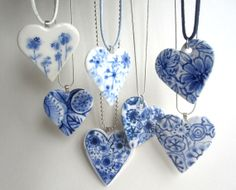 Heart - Hand formed and hand painted porcelain Delftware necklace