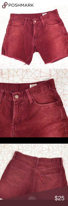 Burgundy Corduroy shorts. Slim Levi's Corduroy shorts slim straight fit. Raw edges . 5 pocket . Waist 29 but fits really snug can fit 27-28 Levi's Shorts