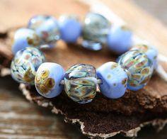Blue organic lampwork beads set hanmade glass beads  by MayaHoney