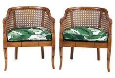 One Kings Lane - Vintage Accents, Brass Animals & More - Banana Leaf Bamboo Barrel Chairs, Pair Estilo Tropical, Cane Furniture, Rattan Furniture, Furniture Design, Bamboo Dining Chairs, British Colonial Style, Spanish Colonial, Barrel Chair, Tropical Decor