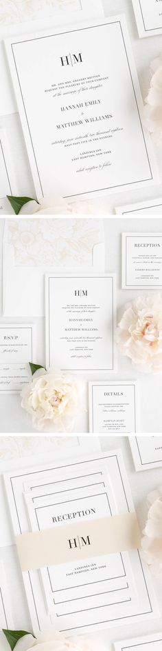 A sophisticated monogram and vintage script font create a statement on these glamorous wedding invitations. Shown in black with a garden rose pattern envelope liner and solid belly band, both in champagne.
