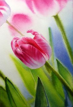 Ähnliche Artikel wie Rosa Tulpe Blume Malerei - Giclée-Druck der ursprünglichen Kunst Aquarell - Frühling Garten - kleine Mauer Kunst - weiche verträumt romantische Home Dekor auf Etsy