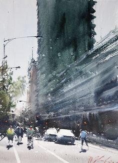 artchipel: Joseph Zbukvic People are seldom still or rigid; they are off-balance in mouvement and animated. Watercolor City, Watercolor Artists, Watercolor Landscape, Watercolor Paintings, Watercolors, Urban Landscape, Landscape Art, Landscape Paintings, Joseph Zbukvic