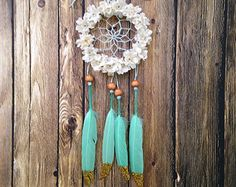 3 Mint Rose and Coral with Gold Glitter Dream Catcher by DreamDen