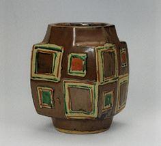 Shoji Hamada stoneware vase with geometric square colored motif
