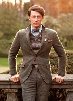 Love the wool Glen Plaid suit and the sweater combo