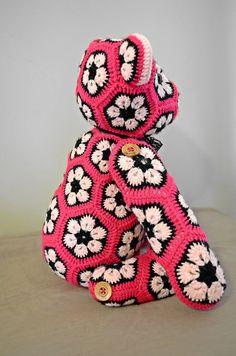 Custom African Flower Bear by BrokenChairCrafts on Etsy African Flower Crochet Animals, Crochet Animal Patterns, Stuffed Animal Patterns, Crochet Flowers, Crochet Dolls, Knit Crochet, Crochet Hats, Crochet Projects, Craft Projects