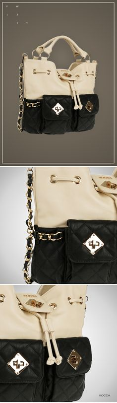 Ales bag: black and white with handle and chain by #Kocca #fashion #moda #sales #bag #accessories