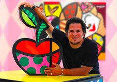 Art project based on this artist...Romero Britto from Brazil...very pop artish and great for teaching use of line and pattern!