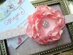 Fabric Flower Headband-Pink Satin on Damask Headband