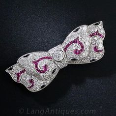 Art Deco Platinum and Diamond, Ruby and Onyx Bow Brooch - 50-1-4529 - Lang Antiques