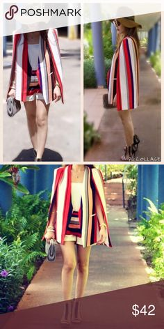 Clothes Stripe cape blazer set.just wore once for blog photoshooting Afashion Jackets & Coats Blazers