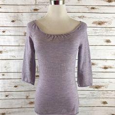 Moth Anthropologie XS Knit Top Wool Blend Pintuck Neckline PURPLE X-SMALL EUC  | eBay