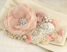 wedding sash in ivory and pink with pearls...  so romantic!