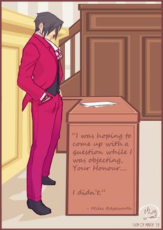 Ace Attorney: Miles Edgeworth in courtroom by ~Medlih on deviantART