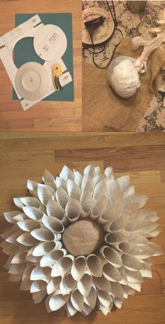 DIY Upcycle: Book Page Flower Wreath Wall Hanging