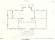 Palladio Villa Marcello Antique Print 1842 Floor Plan according to Scamozzi, Plate 202