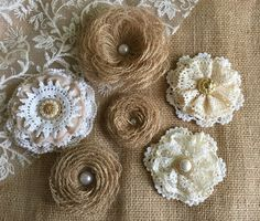 6 rustic lace and burlap handmade flowers - wedding cake topper, decoration, craft projects, jar decoration