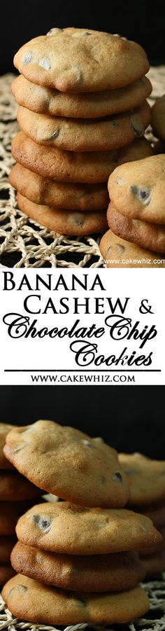 These deliciously easy BANANA CASHEW CHOCOLATE CHIP COOKIES are a great way to use up those overripe bananas. They are soft, moist and slightly spicy. From cakewhiz.com
