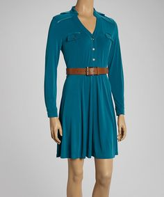 Take a look at this Blue Belted Button-Up Dress on zulily today!