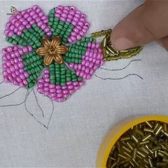 The Effective Pictures We Offer You About Bead Embroidery Patterns videos A quality picture can tell Bead Embroidery Tutorial, Hand Embroidery Videos, Bead Embroidery Patterns, Hand Embroidery Flowers, Flower Embroidery Designs, Creative Embroidery, Bead Embroidery Jewelry, Learn Embroidery, Silk Ribbon Embroidery