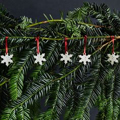 Porcelain Mini Snowflakes Tree Decoration, Set of 5 from National Trust