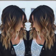 High contrast stretched root balayage ombre. Fall hair color.   Hair by Rachel Fife @ Sara Fraraccio Salon in Akron, Ohio