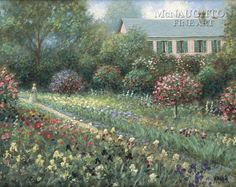Monet's Garden OE Signed by Artist - Giclee Canvas Garden Paths, Garden Landscaping, Jon Mcnaughton, Landscape Paintings, Landscapes, Eye For Beauty, Cottage In The Woods, Garden Painting, Monet