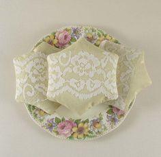 Vintage fabric and lace lavender sachet set