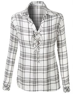 LE3NO Womens Plaid Roll Up Sleeve Lace Up Front Tunic Top
