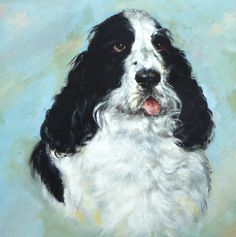 Spaniel Painting Oil on Board Toy Dog American Kennel Club Lap Dog Vintage Dog Painting Vintage Oil Painting Cocker Spaniel Black & White by BiminiCricket on Etsy Lap Dogs, Vintage Dog, Dog Paintings, Cocker Spaniel, Dog Toys, Fans, Oil, Club, Gift Ideas
