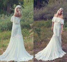 2015 Bohemian Styles A-Line Cheap Wedding Dress Hippie Bohemian Bridal Dress Ivory Lace cap sleeve chiffon Bridal Gowns