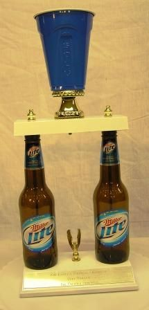 Just $29.95! Approximately 23-inches tall, these two genuine beer bottles stand on a handsome white marble base. This is the perfect annual Beer Pong Trophy.