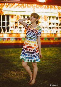 Multicolor Short Sleeve Rainbow Print Skater Dress - Sheinside.com