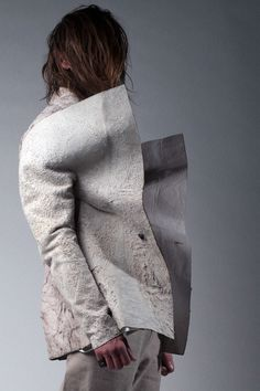 """Sruli Recht Spring/Summer 2012 - """"Cast By Shadows""""Shielded Mechanist (Icelandic Horse Skin Jacket) """"These horses, genetically unique to Iceland, are ridden till the end of their days, then taken for all parts of it's body. As with a fingerprint, the hide of each horse has a unique pattern and texture, ranging from a smooth to a wrinkled, stiff or soft hide. The skins are left unsplit. No two horses and no two jackets are the same."""" — Sruli Recht"""