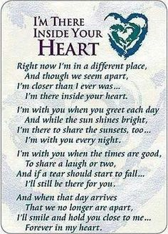 I'm There Inside Your Heart Prayer Cards - Pkg of 25 Miss Mom, Miss You Dad, Grief Poems, Be My Hero, Never Be Alone, After Life, Prayer Cards, Found Out, Just In Case