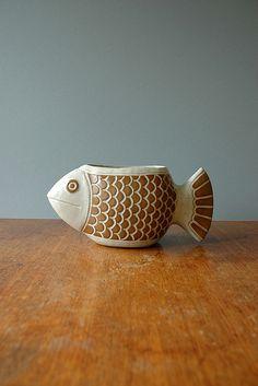 David Stewart; Glazed Ceramic Fish Planter, 1970s.
