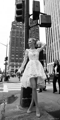 inbal dror 2016 wedding dress with bateau neck long bell sleeve lace ball gown short high low wedding dress style 02 mv