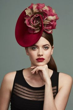 "Juliette Botterill ""Cashmere Flower Percher"" from AW Striking red vertical  saucer percher described by the designer as a hat with ""cashmere covered  base 506ceccbdc2b"