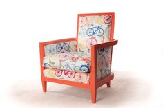 One Kings Lane - Shades of Spring - Orange Bicycles Chair Take A Seat, Vintage Market, Painting Frames, Old And New, To My Daughter, Armchair, Upholstery, Bicycles, Orange