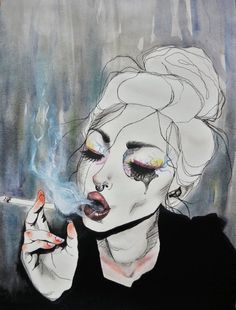 Kai Fine Art is an art website, shows painting and illustration works all over the world. Aesthetic Drawing, Aesthetic Art, Aesthetic Painting, Wow Art, Art Inspo, Painting & Drawing, Trippy Painting, Watercolor Drawing, Drawing People
