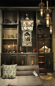 Luna Bella  Love this wall unit with the sliding ladder like in a library