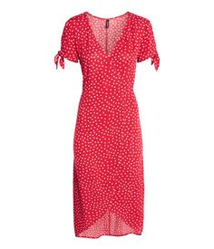 Crêped Wrap-front Dress | Red/dotted | Women | H&M US