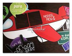 Letreros para fiesta marco en forma de avión #LetrerosFiesta www.taguinche.com