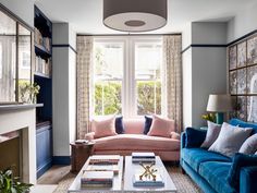 Pringle & Pringle sitting room Navy Living Rooms, Living Spaces, Bright Wallpaper, English Interior, Living Room Remodel, English Style, Beautiful Interiors, Colorful Decor, Small Spaces