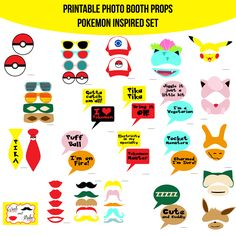 Instant Download Pocket Monster Pokemon Inspired Printable Photo Booth Prop Set — Amanda Keyt DIY Photo Booth Props & More!
