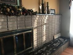 What should I do to update an off centered and outdated fireplace? | Hometalk Off Center Fireplace, Log Burner Fireplace, Slate Fireplace, Candles In Fireplace, Rustic Fireplaces, Farmhouse Fireplace, Fireplace Remodel, Fireplace Surrounds, Fireplace Ideas
